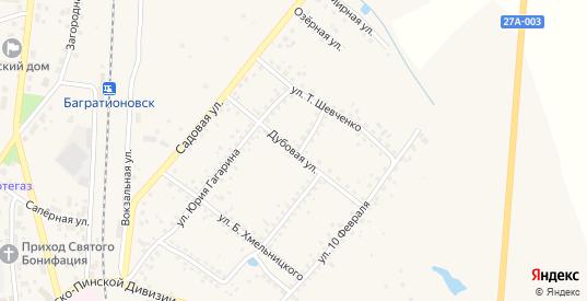 Дубовая улица в Багратионовске с номерами домов на карте. Спутник и схема онлайн