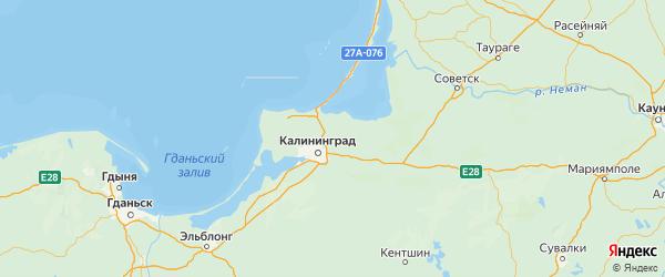 Карта Гурьевского района Калининградской области с городами и населенными пунктами