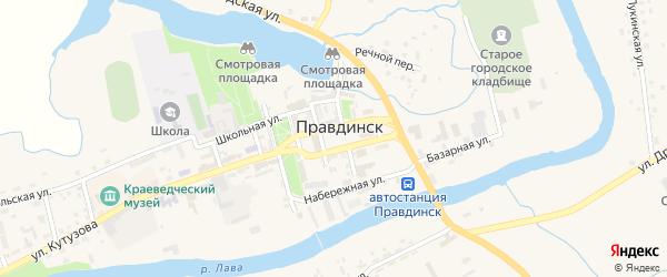 Площадь 50 лет Победы на карте Правдинска с номерами домов