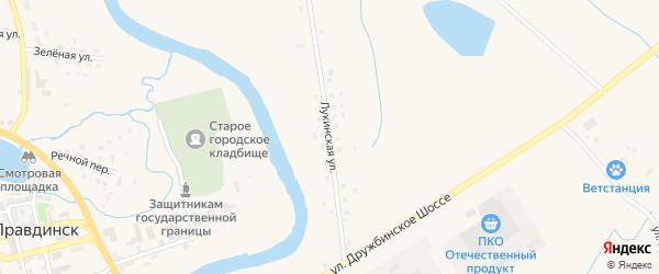 Лукинская улица на карте Правдинска с номерами домов
