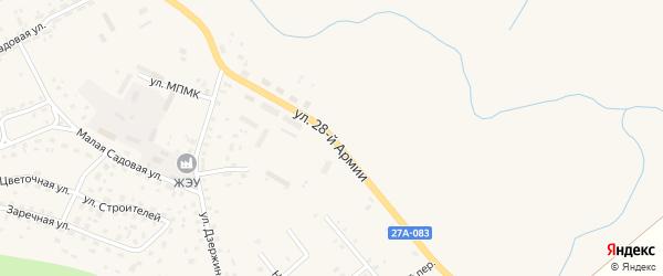 Улица 28 Армии на карте Правдинска с номерами домов