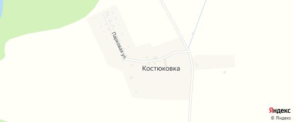 Парковая улица на карте поселка Костюковки Калининградской области с номерами домов