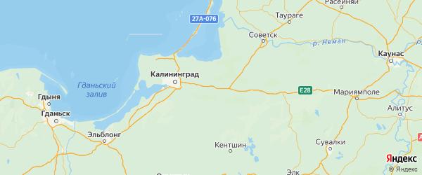 Карта Гвардейского района Калининградской области с городами и населенными пунктами