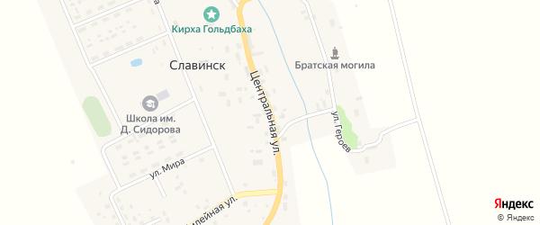 Центральная улица на карте поселка Славинск Калининградской области с номерами домов