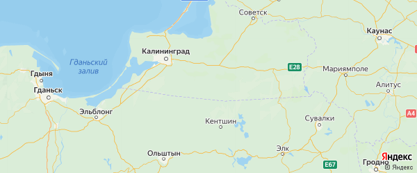 Карта Правдинского района Калининградской области с городами и населенными пунктами