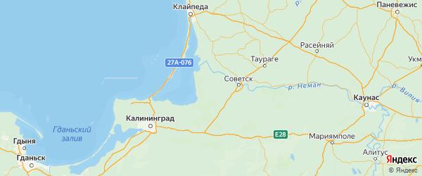 Карта Славского района Калининградской области с городами и населенными пунктами