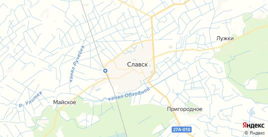 Карта Славска с улицами и домами подробная. Показать со спутника номера домов онлайн