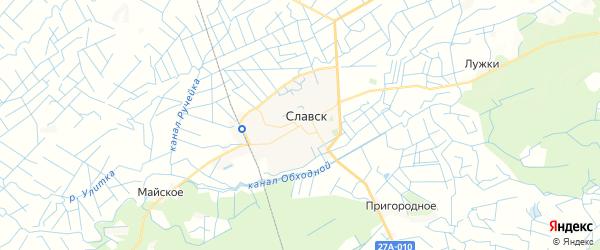 Карта Славска с районами, улицами и номерами домов