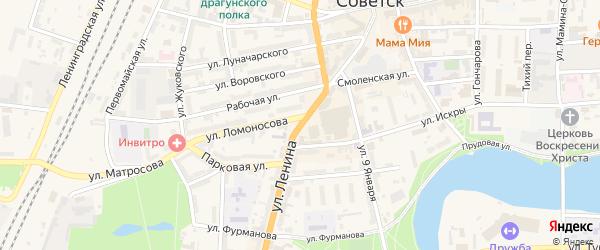 Улица Ленина на карте Советска с номерами домов