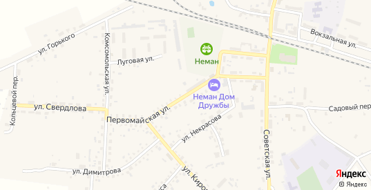 Первомайская улица в Немане с номерами домов на карте. Спутник и схема онлайн