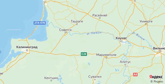Карта Краснознаменского района Калининградской области с городами и населенными пунктами