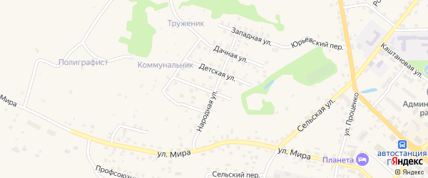 Народная улица на карте Печор с номерами домов