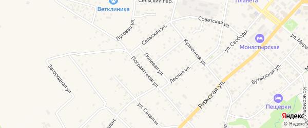 Полевая улица на карте Печор с номерами домов
