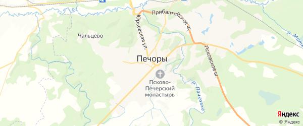 Карта Печор с районами, улицами и номерами домов: Печоры на карте России