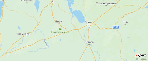 Карта Печорского района Псковской области с городами и населенными пунктами