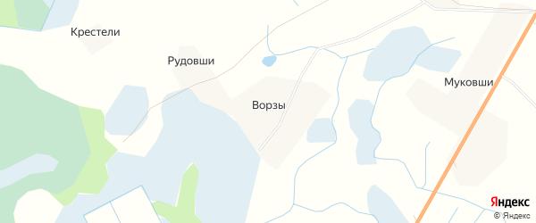 Карта деревни Ворзы в Псковской области с улицами и номерами домов
