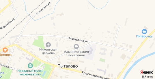 Пионерская улица в Пыталово с номерами домов на карте. Спутник и схема онлайн