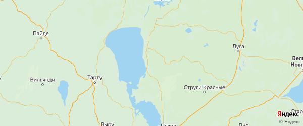 Карта Гдовского района Псковской области с городами и населенными пунктами