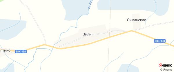 Карта деревни Зили в Псковской области с улицами и номерами домов