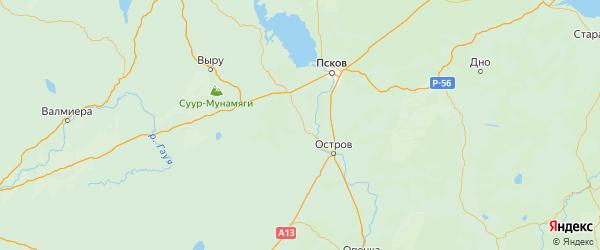 Карта Палкинского района Псковской области с городами и населенными пунктами