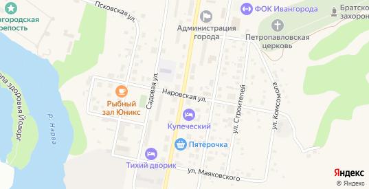 Наровская улица в Ивангороде с номерами домов на карте. Спутник и схема онлайн
