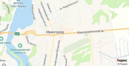 Карта территории ГК Энергетик-2 в Ивангороде с улицами, домами и почтовыми отделениями со спутника онлайн
