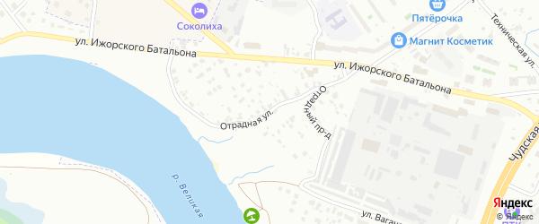 Отрадная улица на карте Пскова с номерами домов