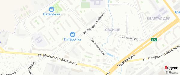 Техническая улица на карте Пскова с номерами домов