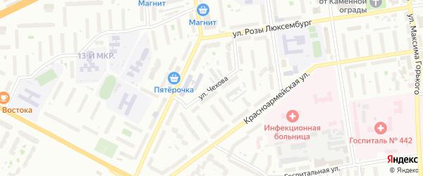Улица Чехова на карте Пскова с номерами домов