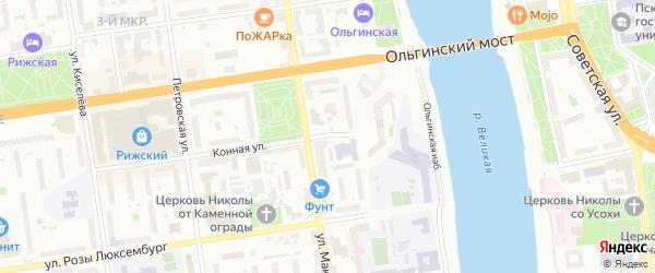 Конный переулок на карте Пскова с номерами домов