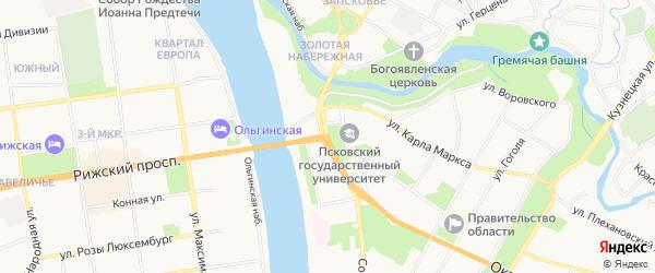 Карта поселка Себежско города Пскова в Псковской области с улицами и номерами домов