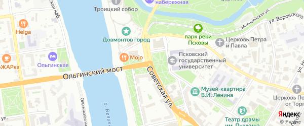 Пограничный переулок на карте Пскова с номерами домов