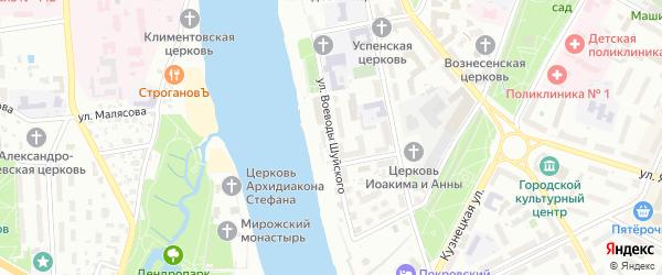 Улица Воеводы Шуйского на карте Пскова с номерами домов