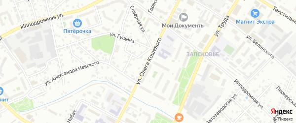 Улица Олега Кошевого на карте Пскова с номерами домов