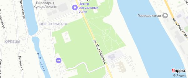 Улица Яна Райниса на карте Пскова с номерами домов