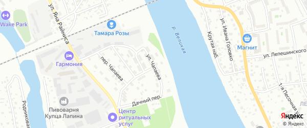 Улица Чапаева на карте Пскова с номерами домов