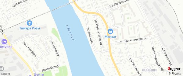 Крутая набережная на карте Пскова с номерами домов