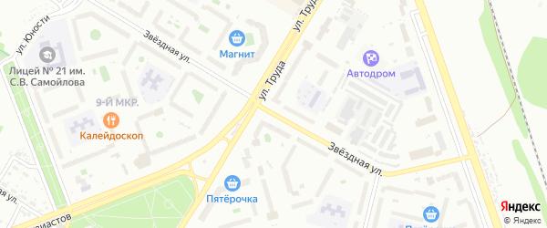 Звездная улица на карте Пскова с номерами домов