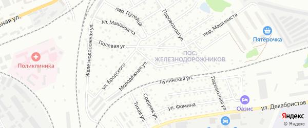 Молодежная улица на карте Пскова с номерами домов