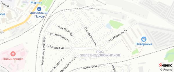 Полевая 1-я улица на карте Пскова с номерами домов