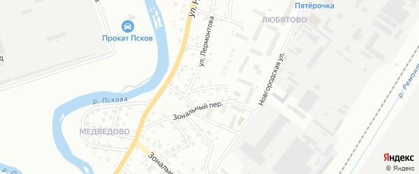 Колхозная улица на карте Пскова с номерами домов
