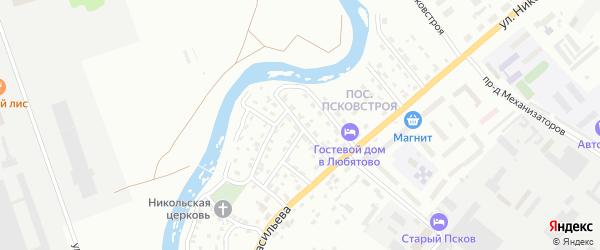 Переулок Псковстроя на карте Пскова с номерами домов