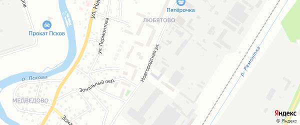 Новгородская улица на карте Пскова с номерами домов