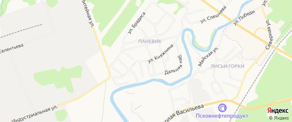 Карта поселка Паневик города Пскова в Псковской области с улицами и номерами домов