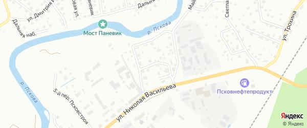 Переулок 1-й Мелиораторов на карте Пскова с номерами домов