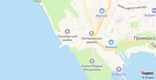 Морской переулок в Приморске с номерами домов на карте. Спутник и схема онлайн