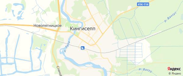 Карта Кингисеппа с районами, улицами и номерами домов