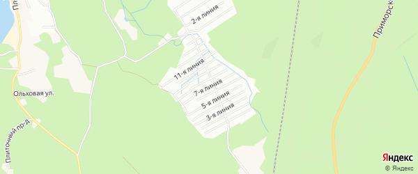 Карта поселка СТ Солнечной Поляны города Приморска в Ленинградской области с улицами и номерами домов