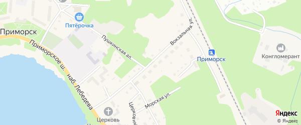Вокзальная улица на карте Приморска с номерами домов