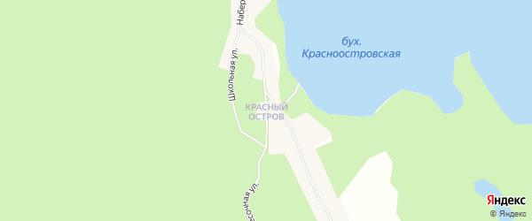 Карта поселка Красного Острова города Приморска в Ленинградской области с улицами и номерами домов